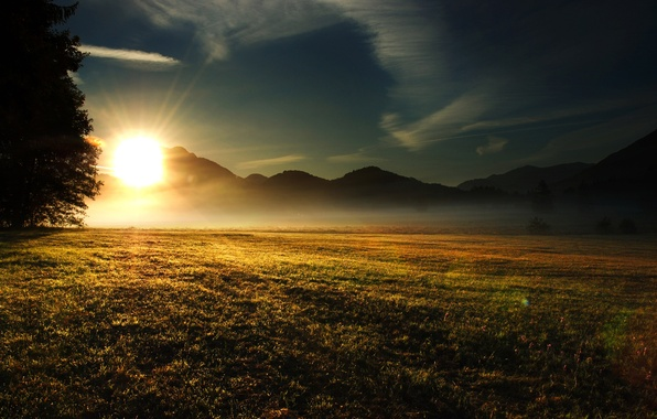 Picture field, the sky, grass, the sun, clouds, rays, light, trees, landscape, mountains, nature, hills, morning