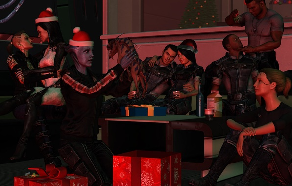 Picture holiday, gifts, team, party, Mass Effect