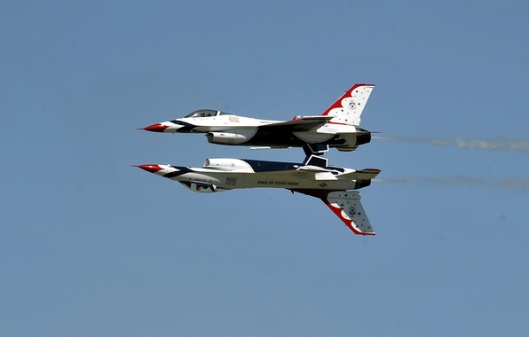 Picture the sky, aviation, fighter, mirror, the air, flight, the plane, BBC, F-16, The Thunderbirds, Fighting …