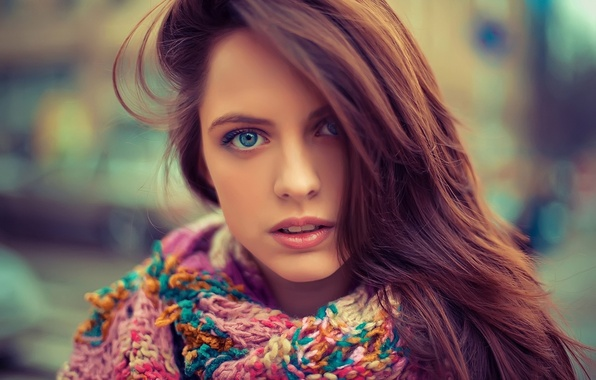 Picture eyes, girl, face, hair, portrait, scarf, blue, beautiful