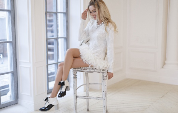 Picture girl, smile, actress, blonde, chair, legs, Natalia Rudova