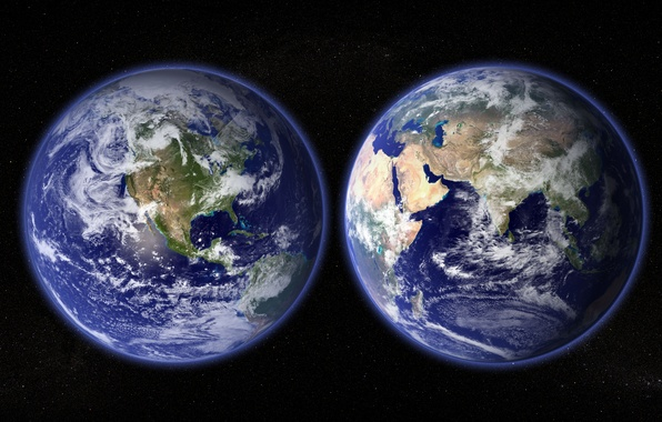 Picture space, stars, planet, Earth, continents, hemisphere, oceans