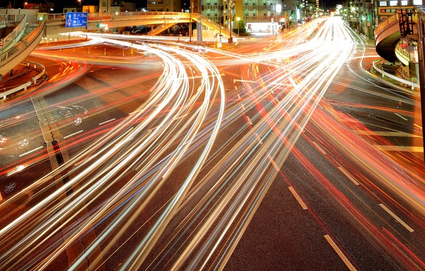 Picture lights, home, Tokyo, lights, Tokyo, night city, the motorway