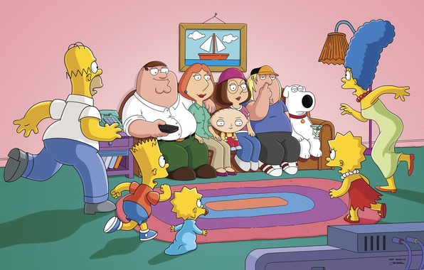 Picture The simpsons, Sofa, Peter, Picture, Homer, Maggie, Maggie, Bart, Family guy, Stewie, Lisa, Chris, Family …