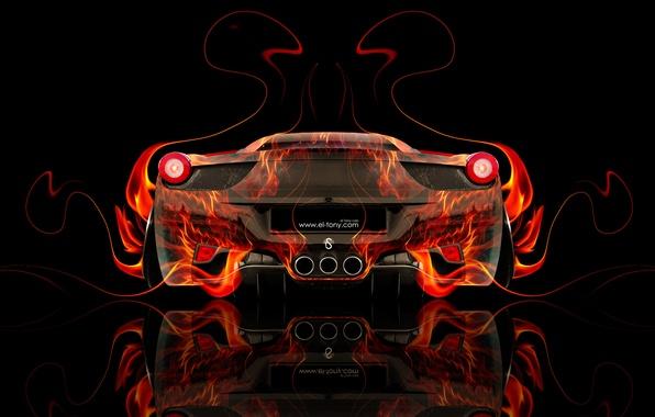 Picture Color, Auto, Black, Fire, Machine, Ferrari, Style, Orange, Italy, Wallpaper, Background, Ferrari, Orange, Flame, Car, ...