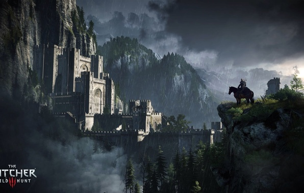 Picture trees, rain, horse, fortress, the Witcher, Geralt, The Witcher 3: Wild Hunt, Kaer Morhen, Roach, …