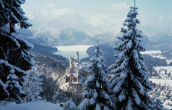 Picture winter, forest, snow, trees, mountains, castle, town, Neuschwanstein