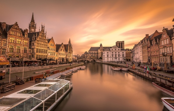 Picture the city, river, home, boats, Europe, Belgium, Ghent