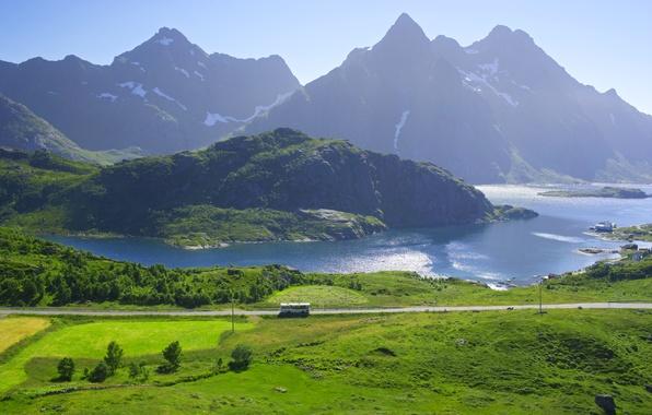Picture road, mountains, lake, shore, field, Norway, houses, bus, Lofoten