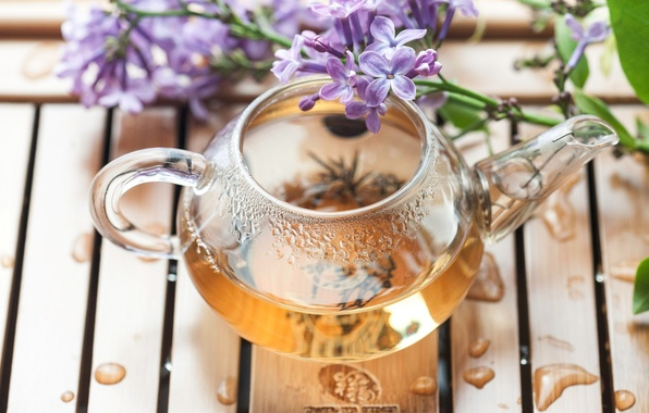 Picture flowers, tea, branch, kettle, lilac, tray