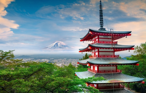 Picture summer, house, mountain, Japan, pagoda, architecture, Fuji, June, stratovolcano