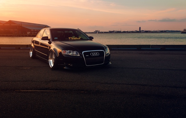 Picture Audi, Front, Black, Sunset, Stance, Slammed, Vehicle