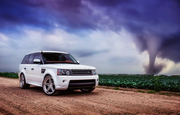 Picture road, field, white, the sky, clouds, hurricane, sport, white, land rover, range rover, range Rover, …