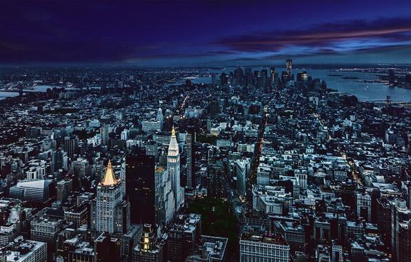 Picture City, Night, Manhattan, Skyline, New-York, Architecture, Gotham, Cityscape
