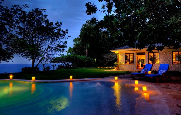 Picture trees, house, the ocean, stay, island, the evening, candles, pool, resort, Jamaica, Jamaica