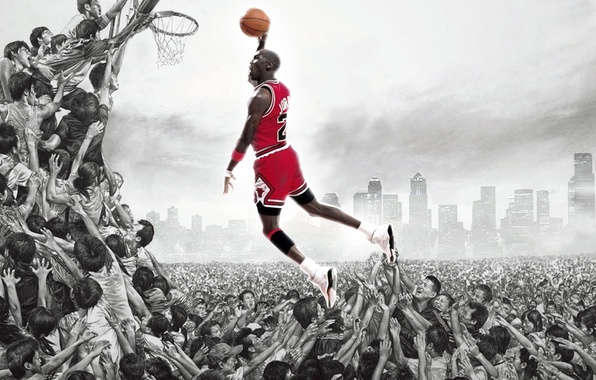 Picture the ball, Michael Jordan, basketball