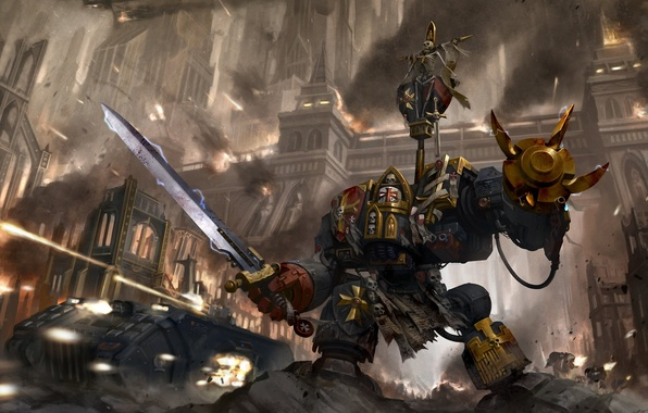 Picture metal, the city, weapons, sword, art, Okita, black templars, warhammer 40k, space marines, dreadnought