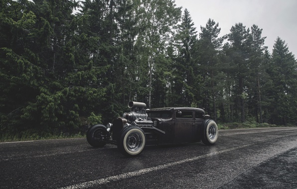 Picture forest, rain, forest, ford, Ford, rain, rat, rod