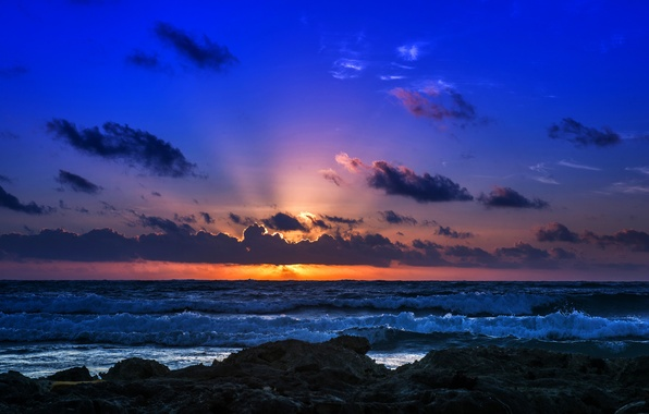 Picture sea, wave, the sky, clouds, sunset, rocks, shore, horizon, surf