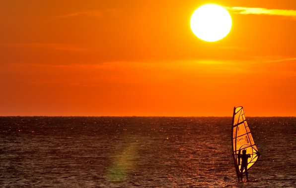 Photo wallpaper sea, sunset, yellow, horizon, male, adventure, solar, Windsurfing, extreme sports, windsurfer