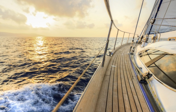 Picture sea, wave, the sky, squirt, the wind, dawn, stay, speed, yacht, space, sail, deck, summer, …