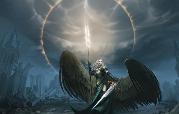 Picture girl, wings, angel, sword, art, avacyn