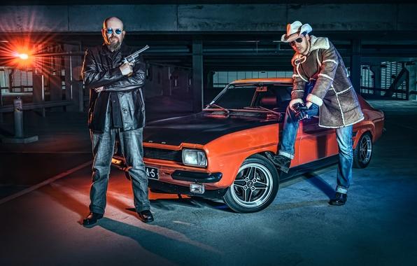 Picture machine, auto, weapons, Parking, revolver, Lauri Koponen, Ford Capri, Petri Damsten