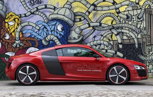 Picture car, auto, Audi, Prototype, side view, wallpapers, e-Tron