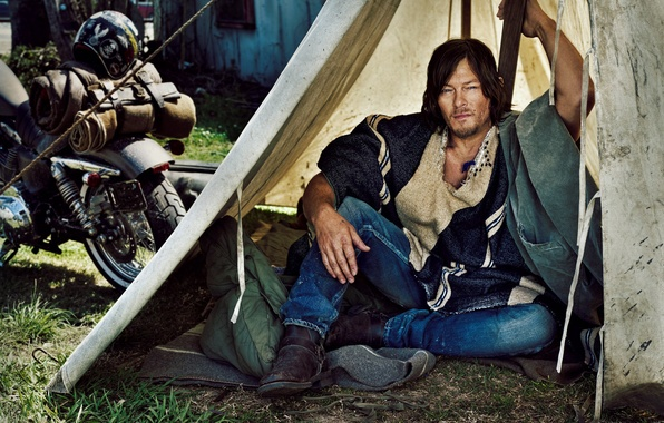 Photo Wallpaper Marc Hom Norman Reedus Biker Motorcycle Actor Tent