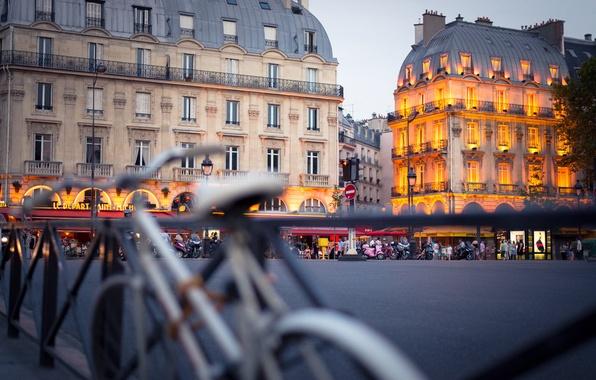 Picture the city, France, Paris, building, home, the evening, fence, backlight, area, Paris, architecture, France, bikes