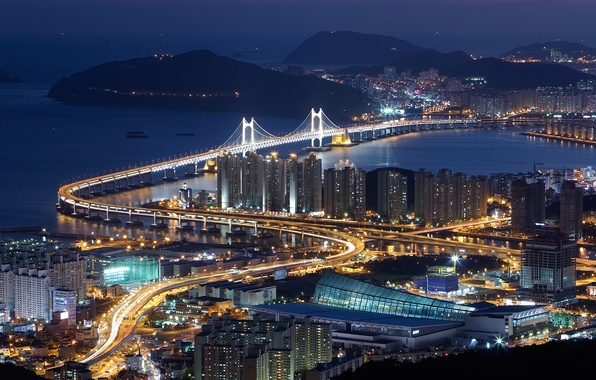 Picture night, bridge, the city, lights, home, Bay