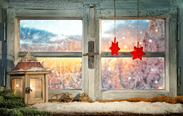 Picture winter, glass, branches, fire, holiday, patterns, toys, candle, window, frost, lantern, New year, stars, Christmas