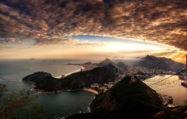 Picture the sky, clouds, sunset, the city, home, Rio