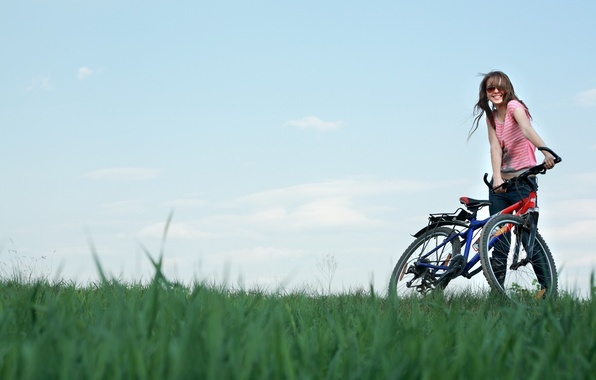 Picture field, the sky, girl, joy, bike