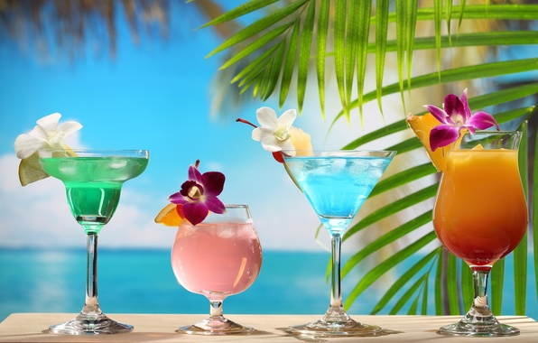 Picture apple, lemon, sky, sea, bar, clouds, fruit, orange, orchid, chocolate, strawberry, seaside, drink, pineapple, glasses, …