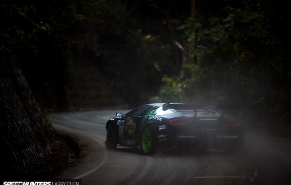 Picture smoke, speed, dust, skid, speedhunters, Liberty Walk, Lamborghini Murciélago, Drift Machine