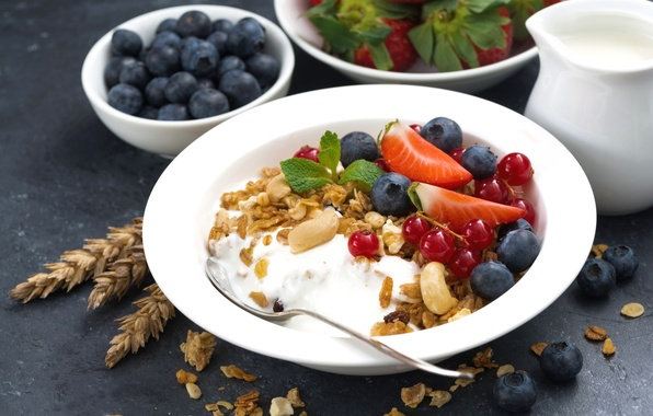 Picture berries, Breakfast, strawberry, nuts, mint, currants, blueberries, muesli, yogurt