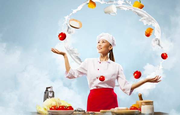 Picture girl, smile, eggs, milk, kitchen, cook, brown hair, vegetables, tomatoes, cabbage, peppers