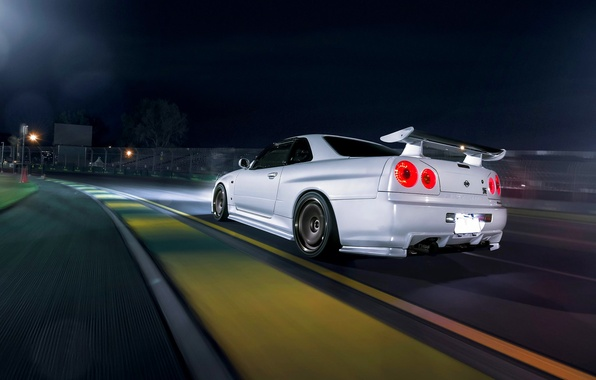 Picture Dark, Nissan, Car, Race, Speed, White, Skyline, R34, Track, Rear, Nigth