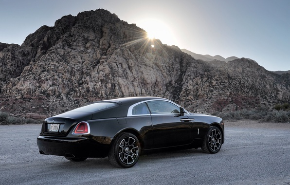 Picture the sun, rays, black, Rolls-Royce, car, rolls-Royce, Wraith, Black Badge