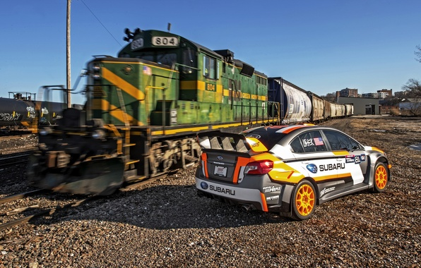 Picture train, Subaru, railroad, WRX, STI, Subaru, Rallycross, 2015