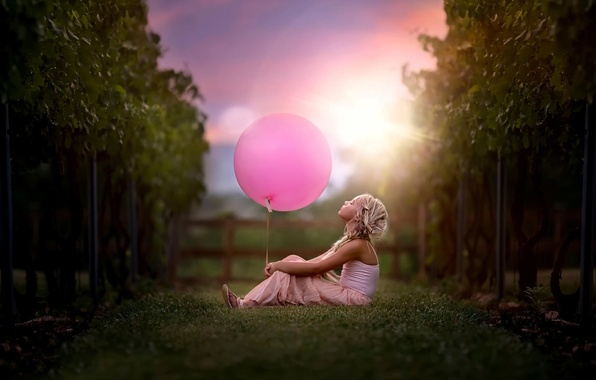 Picture ball, girl, vine, child and vineyard