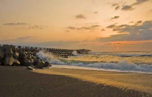 Picture Sunset, The sun, Sand, Sea, Pier, Wave, Shore, Misawa