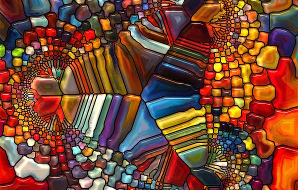 Picture glass, pattern, stained glass, colorful