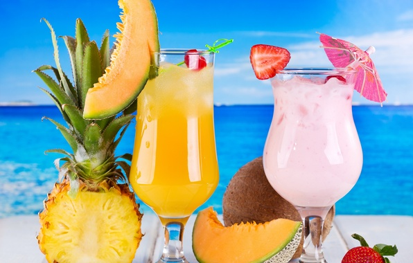 Picture sea, strawberry, cocktail, fruit, pineapple, fresh, drink, cocktail, fruits, tropical