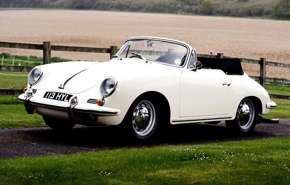 Picture field, white, grass, Roadster, Porsche, Roadster, Porsche, classic, the front, fence, 1962, 1600, 356B, T-6