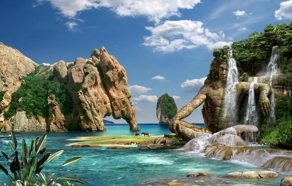 Picture sea, mountains, nature, stones, rocks, waterfall, stone man