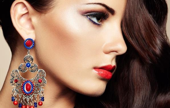 Picture girl, model, hair, earrings, makeup, profile, green eyes