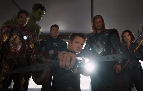 Picture gun, hammer, bow, team, armor, agent, beast, Scarlett Johansson, Hulk, Iron man, Marvel, Iron man, …