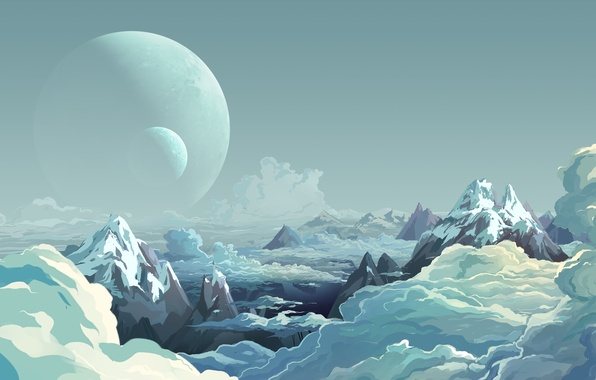 Picture the sky, clouds, mountains, planet, view, height, art